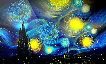 LED梵高星空动态演出舞台背景视频