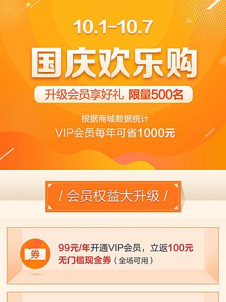 <i>國</i><i>慶</i>VIP活動頁面模板PSD橙色背景