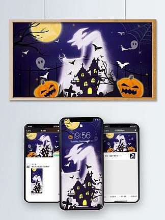 萬圣節暗夜女巫與幽靈南瓜燈手繪插畫