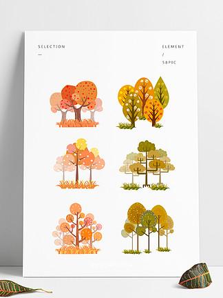 扁平风格简约卡通秋树元素矢量装饰图案