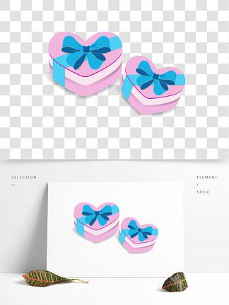 粉色心形蝴蝶结礼品盒元素