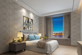 现代风格时尚卧室效果图