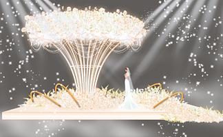 婚礼香槟色花开?#36824;?#20998;舞台婚礼