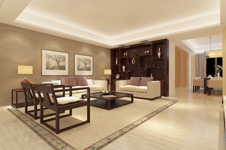 现代风中式客厅<i>效</i><i>果</i><i>图</i>空间明亮温馨