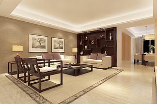 現代風中式客廳<i>效</i><i>果</i><i>圖</i>空間明亮溫馨