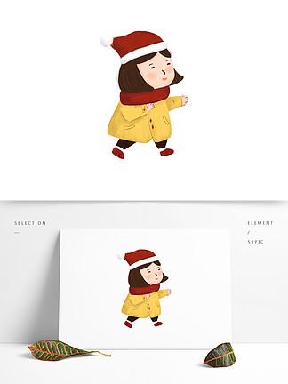 卡通可爱圣诞节女孩设计可商用元素