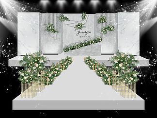 灰白色简约婚礼效果图