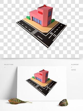C4D2.5d粉紅藍綠商店斑馬線道路街角可商用元素