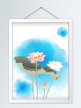 中国风水墨彩色荷花手绘创意装饰画