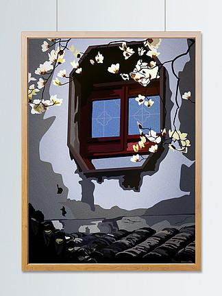 复?#21028;词?#25554;画之古香古色瓦房木棉花