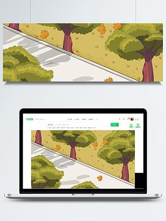 道路兩邊的綠樹卡通背景