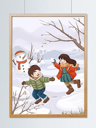 冬天插画冬季打雪仗堆雪人?#35789;?#25554;画