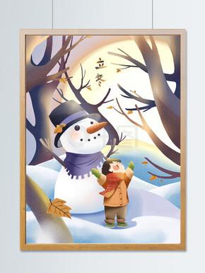 节气立冬之雪人和小女孩元气满满1