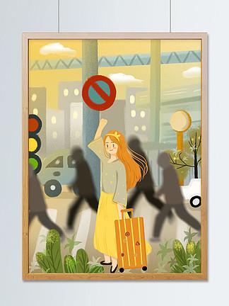 安全出行可愛卡通女生指揮道路行駛