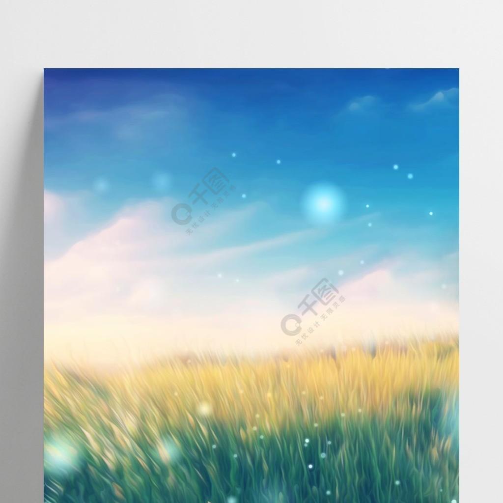 全原创手绘风风蓝天白云绿色麦田风景背景