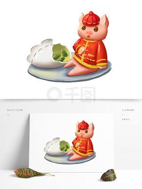 新年喜庆猪水饺手绘卡通可爱可商用元素