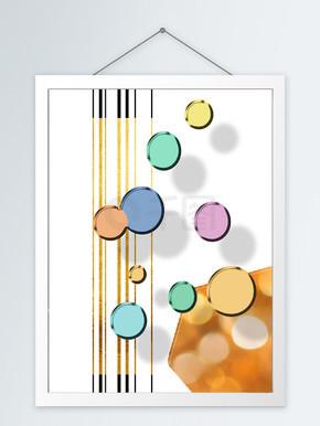 现代简约立体彩色波点客厅装饰画