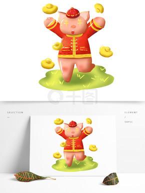 元宝小猪新年喜庆手绘卡通可商用元素