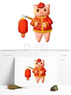 灯笼猪新年喜庆手绘卡通可商用元素