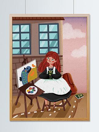 世界青年日女孩在街角看书画画可爱插画