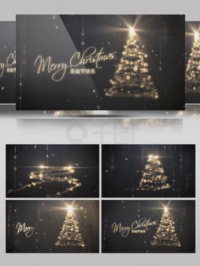粒子光束路径环绕圣诞树动画片头AE模板