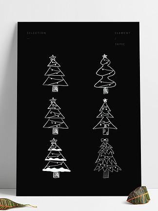 ?#21482;?#21487;爱圣诞节粉笔画圣诞树素材元素