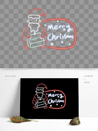 圣诞节发光霓虹灯圣诞老人圣诞发光字体边框