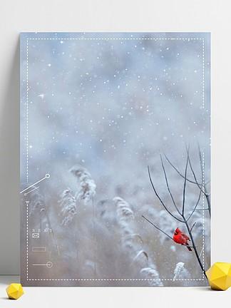 冬季唯美雪景背景素材