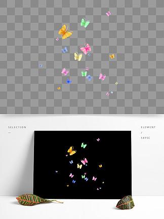 漂浮的蝴蝶漂浮的彩色蝴蝶飞舞的七彩蝴蝶