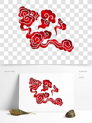 中国风红色AI矢量祥云素材