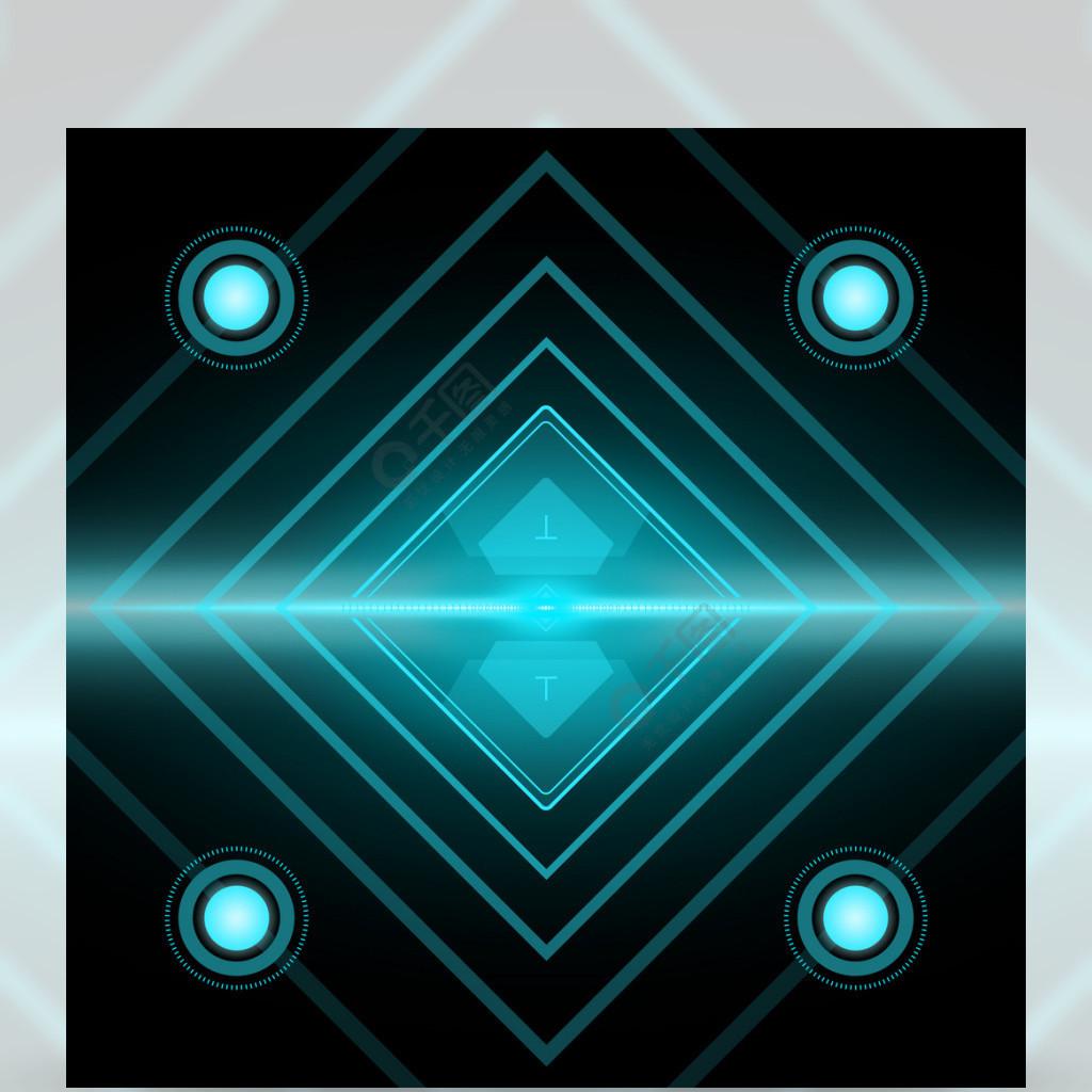 全原创科技光效蓝色发光四边形背景素材