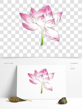 手绘花小清新植物粉色荷花 可商用