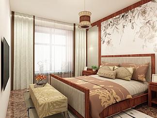 暖色温馨新中式卧室<i>效</i><i>果</i><i>图</i>