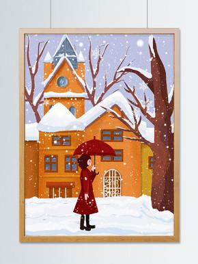 12月你好行走中的女孩插画