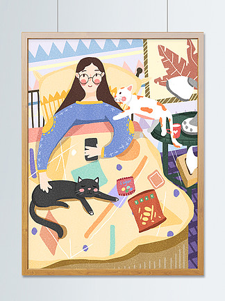 肥宅的快乐生活窝在被窝看手机睡觉的猫咪