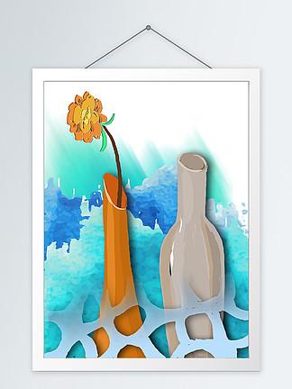 现代淡雅静物水粉花瓶客厅装饰画