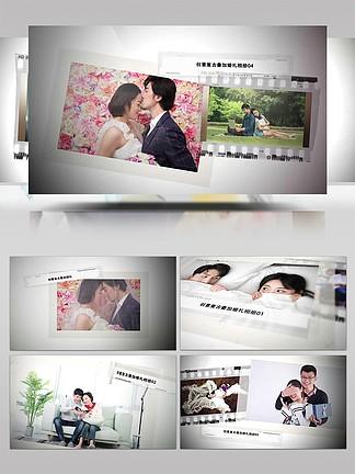 復古膠帶婚禮愛情家庭相冊展示AE模板