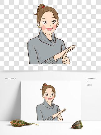 彩绘聋哑女孩比手语可商用元素