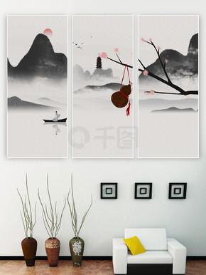 中国风新中式抽象色彩三联装饰画