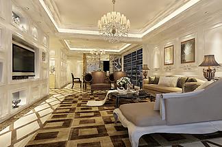 現代歐式花紋地毯床榻沙發<i>電</i><i>視</i><i>墻</i><i>效</i><i>果</i><i>圖</i>模型