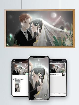 原创文艺插画月光下的婚礼