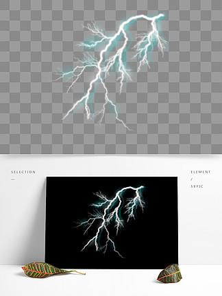 商用手绘蓝色闪电真实炫酷效果设计元素