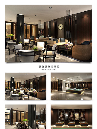 現代中式<i>餐</i><i>廳</i>大堂<i>效</i><i>果</i><i>圖</i>模型