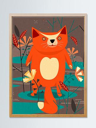 红色小狐狸自然印记趋势插画