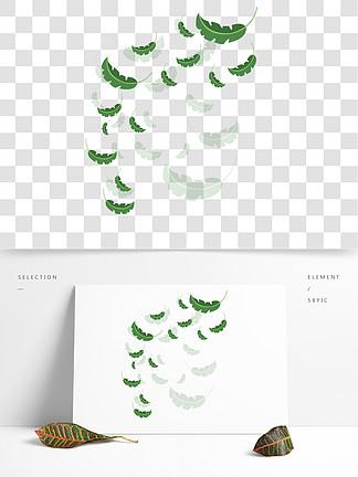 手绘植物树叶漂浮的叶子
