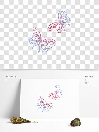 漂浮蝴蝶蓝红色渐变装饰素材可商用元素