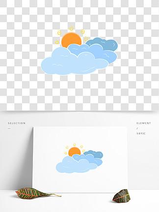 卡通云太阳蓝色橙色