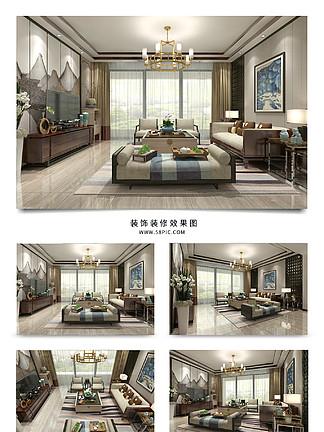 现代中式<i>客</i><i>厅</i>空间<i>效</i><i>果</i><i>图</i>模型明亮