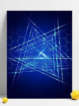 原创科技与光线不规则六边形光线背景素材
