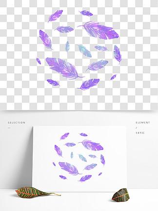 水彩蓝紫色渐变羽毛漂浮设计元素背景底纹